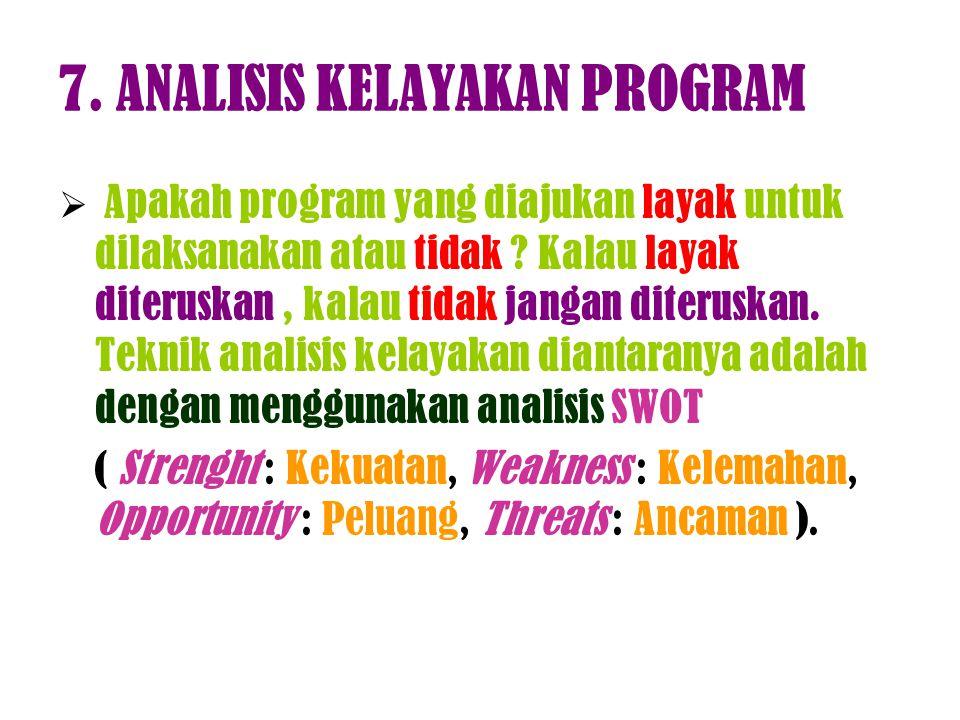 7. ANALISIS KELAYAKAN PROGRAM  Apakah program yang diajukan layak untuk dilaksanakan atau tidak ? Kalau layak diteruskan, kalau tidak jangan diterusk