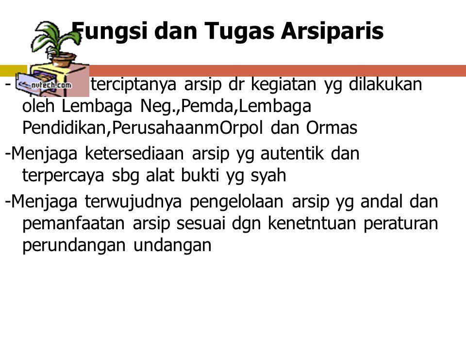 Kedudukan Arsiparis ( Psl 151 PP 28 tahun 2012 ayat (1) ) Arsiparis mempunyai kedudukan hukum sebagaai tenaga profesional yg memiliki kemandirian dan