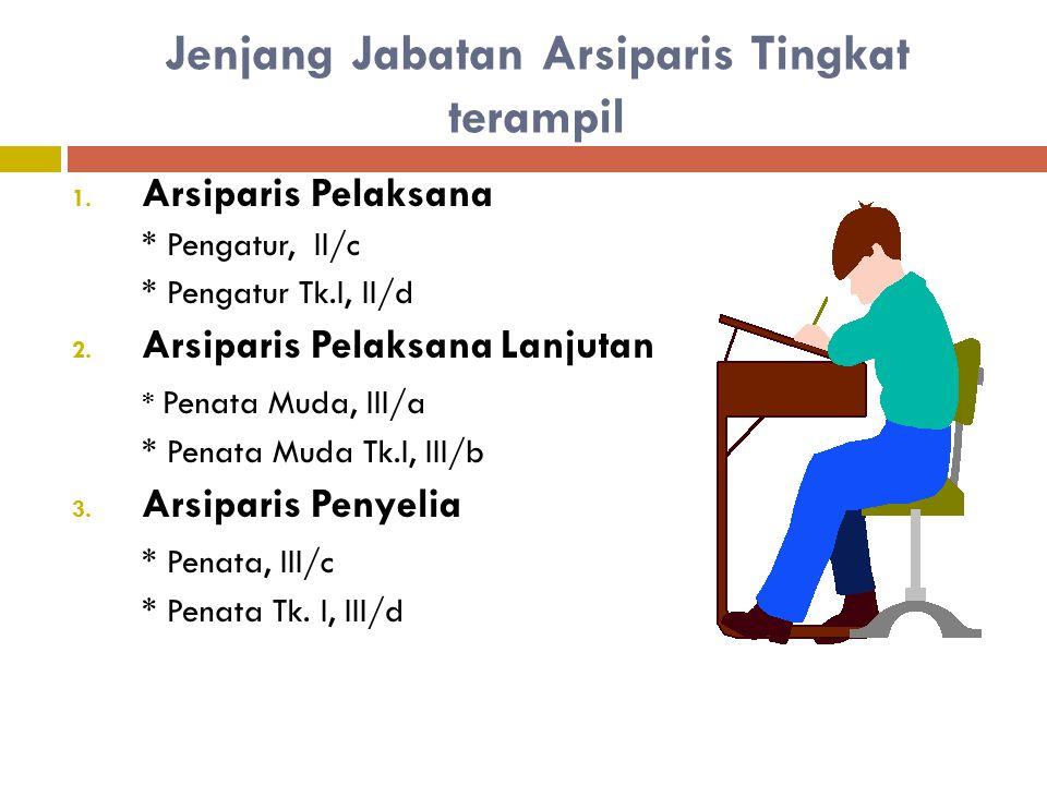 Arsiparis Tingkat Terampil Arsiparis dengan kualifikasi teknis atau penunjang profesional yang pelaksanaan tugas dan fungsinya mensyaratkan penguasaan