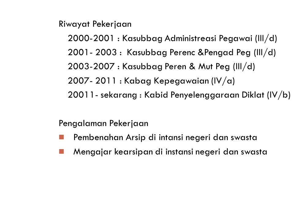 Riwayat Pekerjaan 2000-2001 : Kasubbag Administreasi Pegawai (III/d) 2001- 2003 : Kasubbag Perenc &Pengad Peg (III/d) 2003-2007 : Kasubbag Peren & Mut Peg (III/d) 2007- 2011 : Kabag Kepegawaian (IV/a) 20011- sekarang : Kabid Penyelenggaraan Diklat (IV/b) Pengalaman Pekerjaan Pembenahan Arsip di intansi negeri dan swasta Mengajar kearsipan di instansi negeri dan swasta