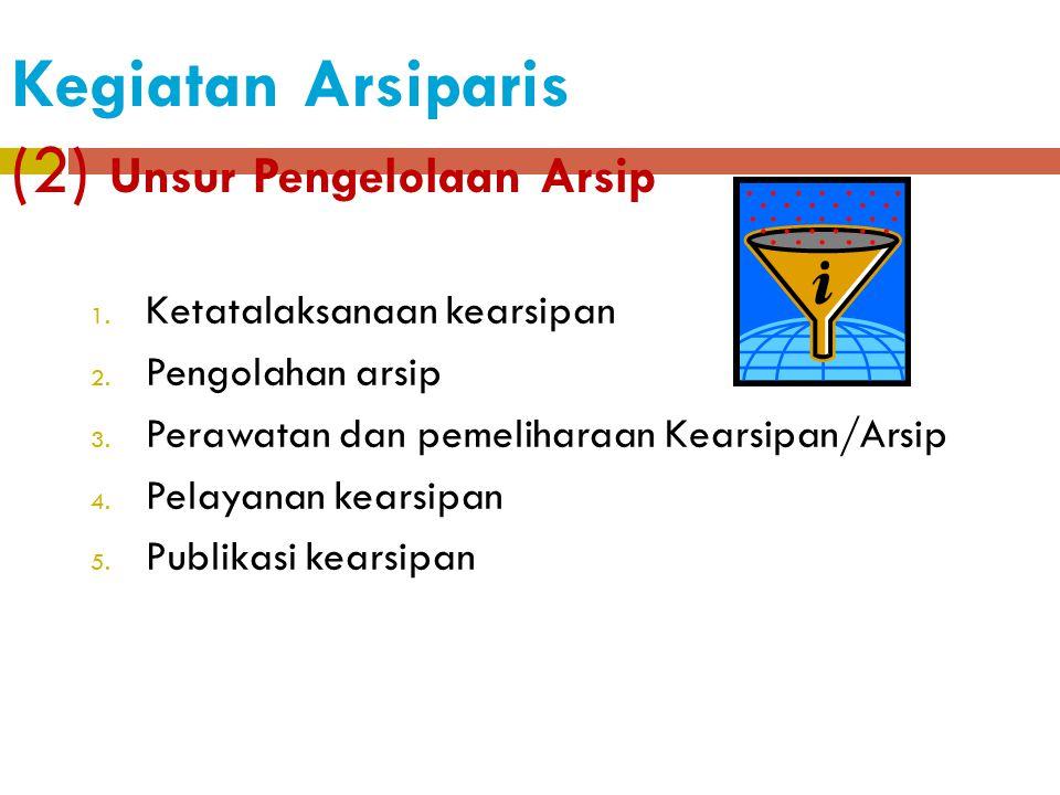 Kegiatan Arsiparis (1) Unsur Pendidikan  Pendidikan sekolah dan meperoleh ijazah/gelar  Pendidikan dan pelatihan fungsional dibidang pengelolaan ars