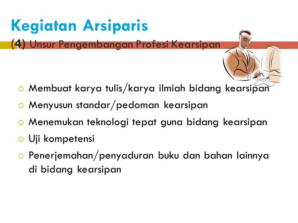 Kegiatan Arsiparis (3) Unsur Pembinaan Kearsipan 1. Bimbingan dan Supervisi kearsipan 2. Akreditasi dan Sertifikasi Kearsipan