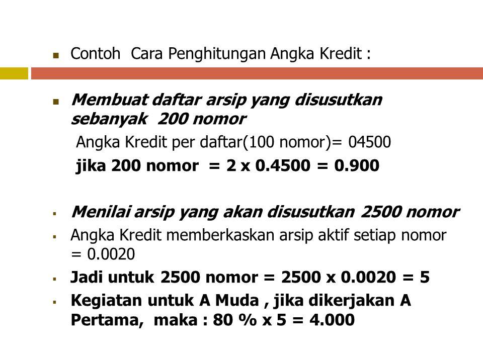 Contoh Cara Penghitungan Angka Kredit : Mencatat Surat masuk sebanyak 200 naskah Angka Kredit per naskah = 0.0001 jika 200 naskah = 200 x 0.0001 = 0.0