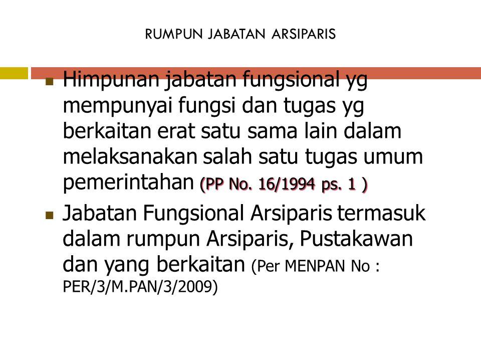 RUMPUN JABATAN ARSIPARIS (PP No.16/1994 ps.