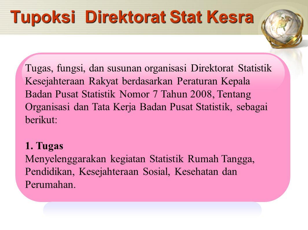 Tupoksi Direktorat Stat Kesra Tugas, fungsi, dan susunan organisasi Direktorat Statistik Kesejahteraan Rakyat berdasarkan Peraturan Kepala Badan Pusat