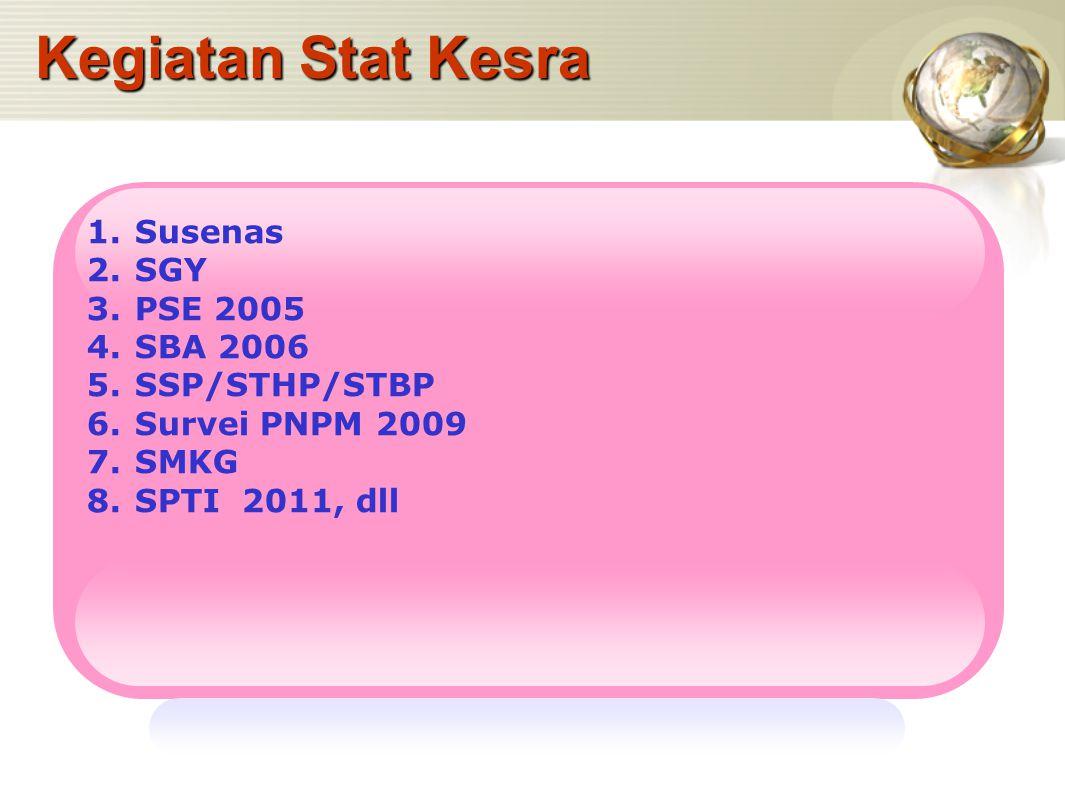 Kegiatan Stat Kesra 1.Susenas 2.SGY 3.PSE 2005 4.SBA 2006 5.SSP/STHP/STBP 6.Survei PNPM 2009 7.SMKG 8.SPTI 2011, dll