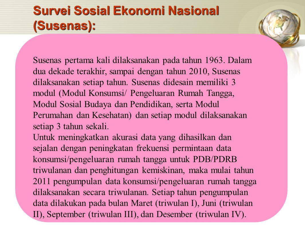 Survei Sosial Ekonomi Nasional (Susenas): Susenas pertama kali dilaksanakan pada tahun 1963. Dalam dua dekade terakhir, sampai dengan tahun 2010, Suse
