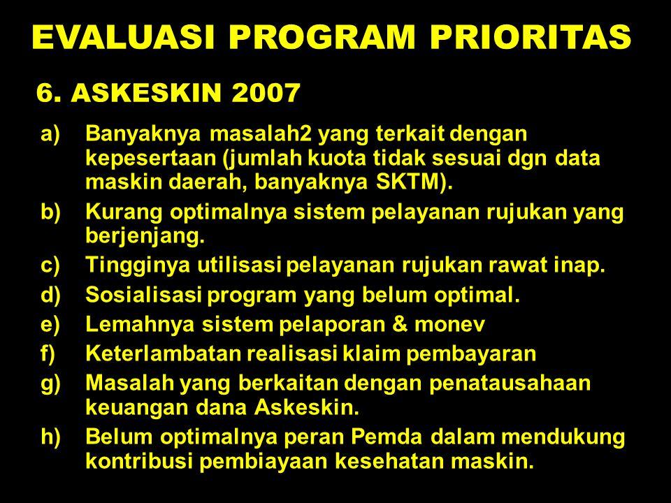 6. ASKESKIN 2007 a)Banyaknya masalah2 yang terkait dengan kepesertaan (jumlah kuota tidak sesuai dgn data maskin daerah, banyaknya SKTM). b)Kurang opt