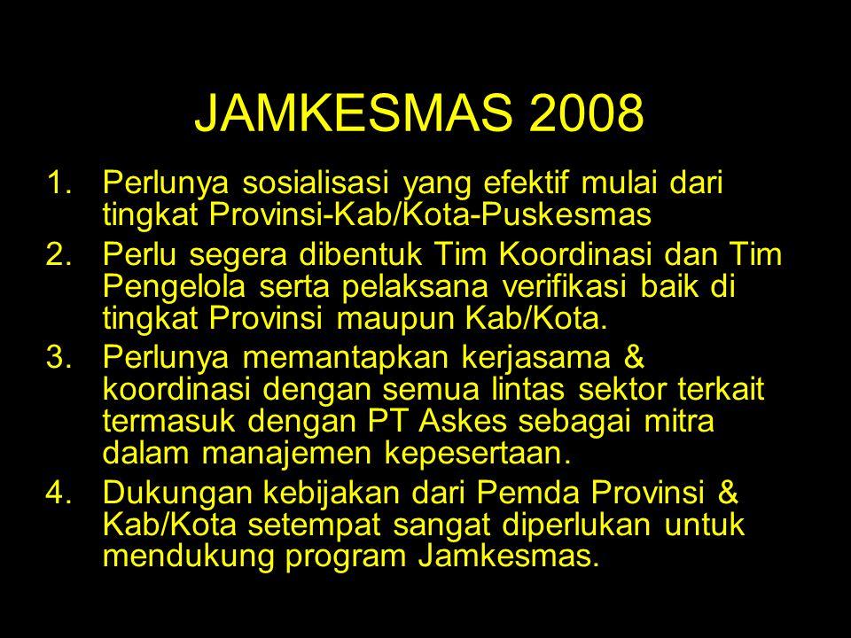 JAMKESMAS 2008 1.Perlunya sosialisasi yang efektif mulai dari tingkat Provinsi-Kab/Kota-Puskesmas 2.Perlu segera dibentuk Tim Koordinasi dan Tim Penge