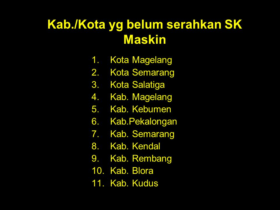 Kab./Kota yg belum serahkan SK Maskin 1.Kota Magelang 2.Kota Semarang 3.Kota Salatiga 4.Kab. Magelang 5.Kab. Kebumen 6.Kab.Pekalongan 7.Kab. Semarang