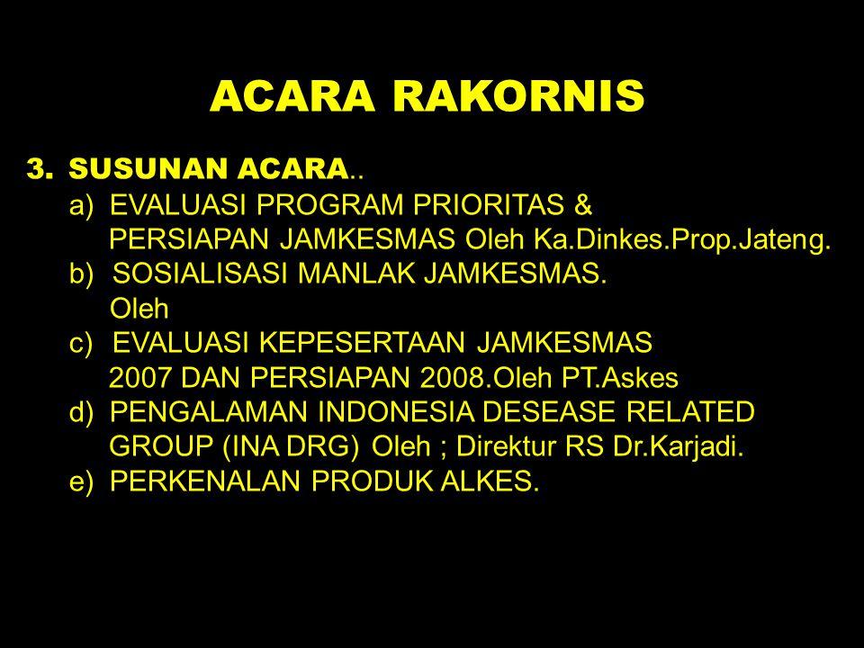 ACARA RAKORNIS 3. SUSUNAN ACARA.. a) EVALUASI PROGRAM PRIORITAS & PERSIAPAN JAMKESMAS Oleh Ka.Dinkes.Prop.Jateng. b)SOSIALISASI MANLAK JAMKESMAS. Oleh