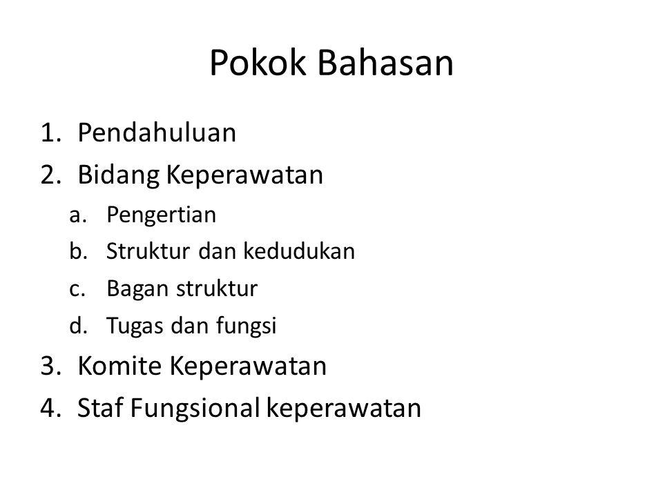 Pokok Bahasan 1.Pendahuluan 2.Bidang Keperawatan a.Pengertian b.Struktur dan kedudukan c.Bagan struktur d.Tugas dan fungsi 3.Komite Keperawatan 4.Staf