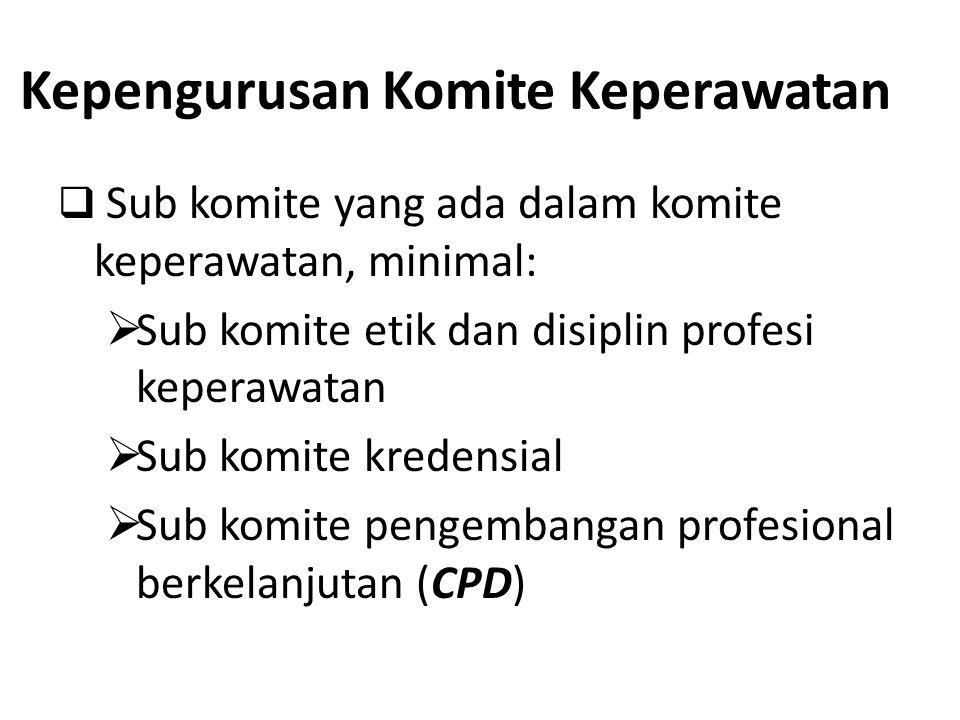 Kepengurusan Komite Keperawatan  Sub komite yang ada dalam komite keperawatan, minimal:  Sub komite etik dan disiplin profesi keperawatan  Sub komi