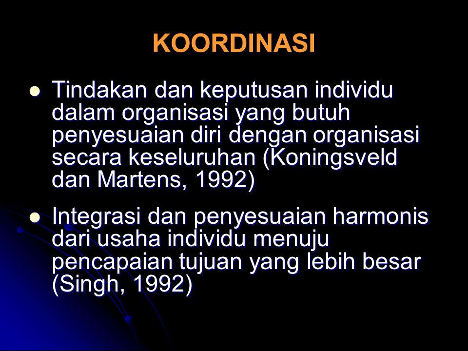 KOORDINASI Tindakan dan keputusan individu dalam organisasi yang butuh penyesuaian diri dengan organisasi secara keseluruhan (Koningsveld dan Martens,