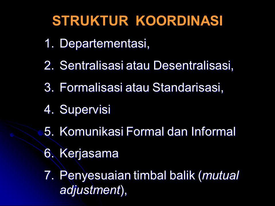 STRUKTUR KOORDINASI 1.Departementasi, 2.Sentralisasi atau Desentralisasi, 3.Formalisasi atau Standarisasi, 4.Supervisi 5.Komunikasi Formal dan Informa
