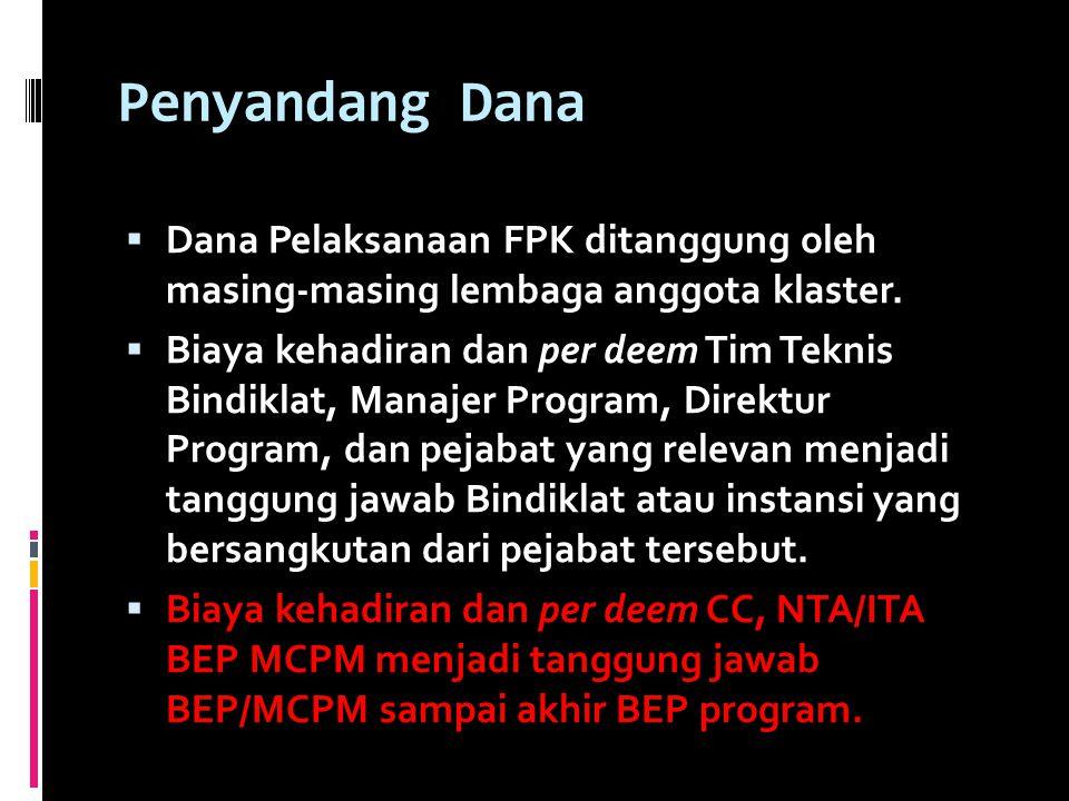 Penyandang Dana  Dana Pelaksanaan FPK ditanggung oleh masing-masing lembaga anggota klaster.