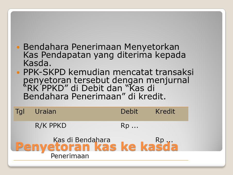 Penyetoran kas ke kasda Bendahara Penerimaan Menyetorkan Kas Pendapatan yang diterima kepada Kasda. PPK-SKPD kemudian mencatat transaksi penyetoran te