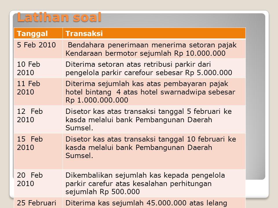 Latihan soal TanggalTransaksi 5 Feb 2010 Bendahara penerimaan menerima setoran pajak Kendaraan bermotor sejumlah Rp 10.000.000 10 Feb 2010 Diterima se