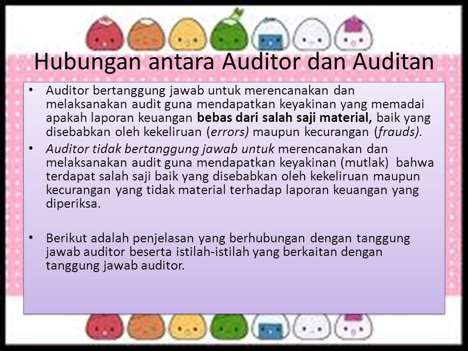 Hubungan antara Auditor dan Auditan Auditor bertanggung jawab untuk merencanakan dan melaksanakan audit guna mendapatkan keyakinan yang memadai apakah