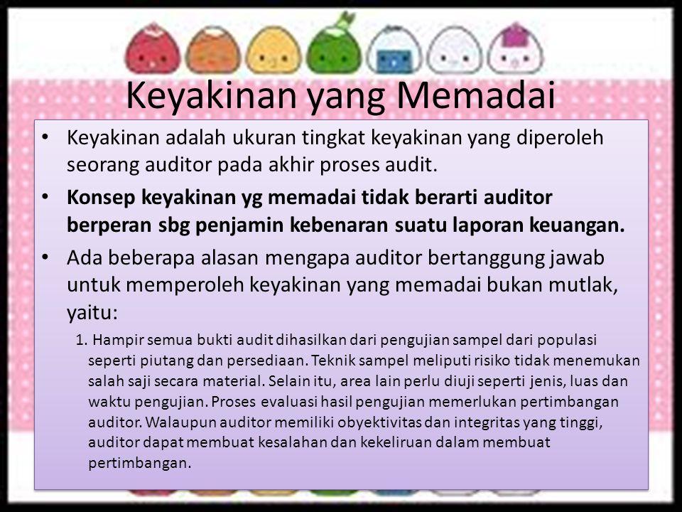 Keyakinan yang Memadai Keyakinan adalah ukuran tingkat keyakinan yang diperoleh seorang auditor pada akhir proses audit. Konsep keyakinan yg memadai t