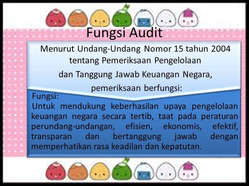 Fungsi: Untuk mendukung keberhasilan upaya pengelolaan keuangan negara secara tertib, taat pada peraturan perundang-undangan, efisien, ekonomis, efekt