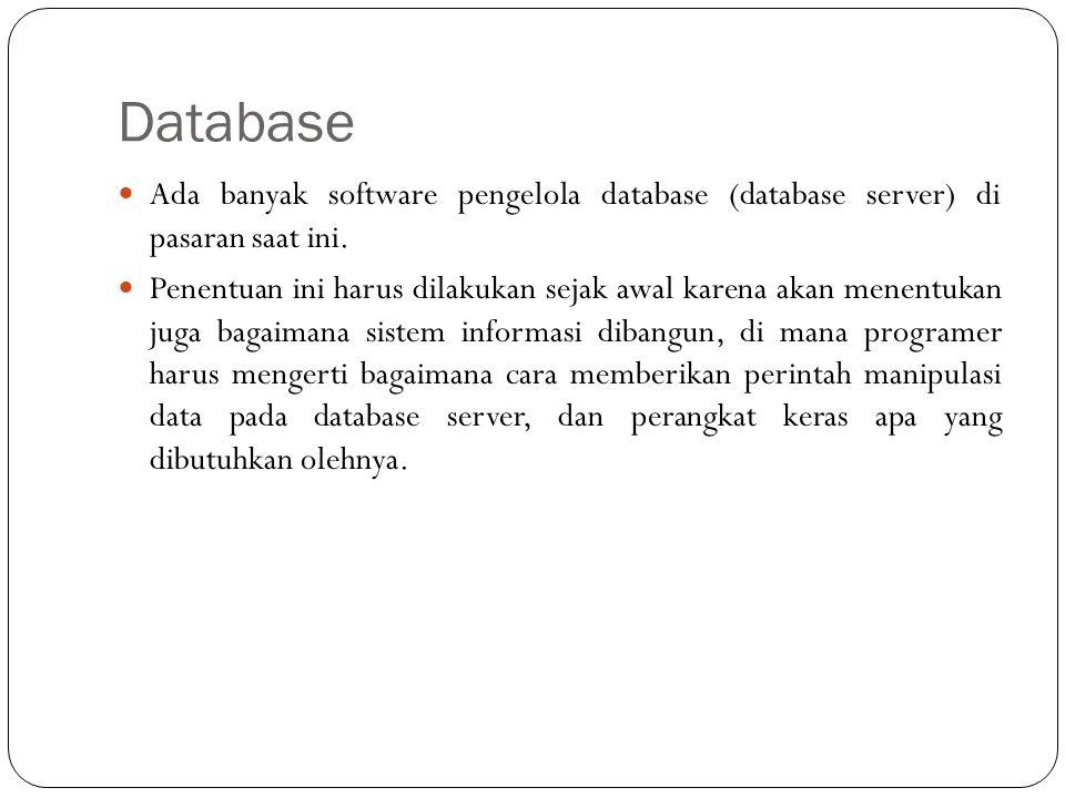 Database Ada banyak software pengelola database (database server) di pasaran saat ini.