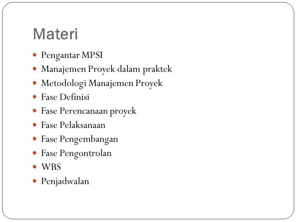 Materi Pengantar MPSI Manajemen Proyek dalam praktek Metodologi Manajemen Proyek Fase Definisi Fase Perencanaan proyek Fase Pelaksanaan Fase Pengembangan Fase Pengontrolan WBS Penjadwalan
