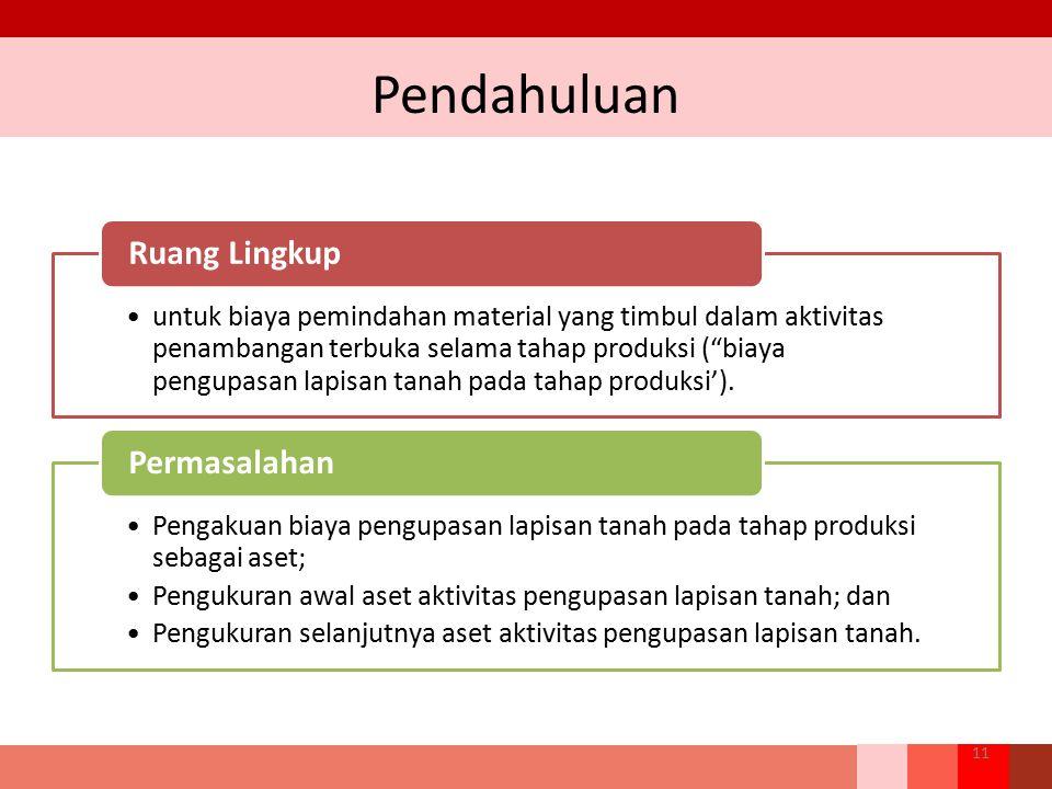 "Pendahuluan 11 untuk biaya pemindahan material yang timbul dalam aktivitas penambangan terbuka selama tahap produksi (""biaya pengupasan lapisan tanah"