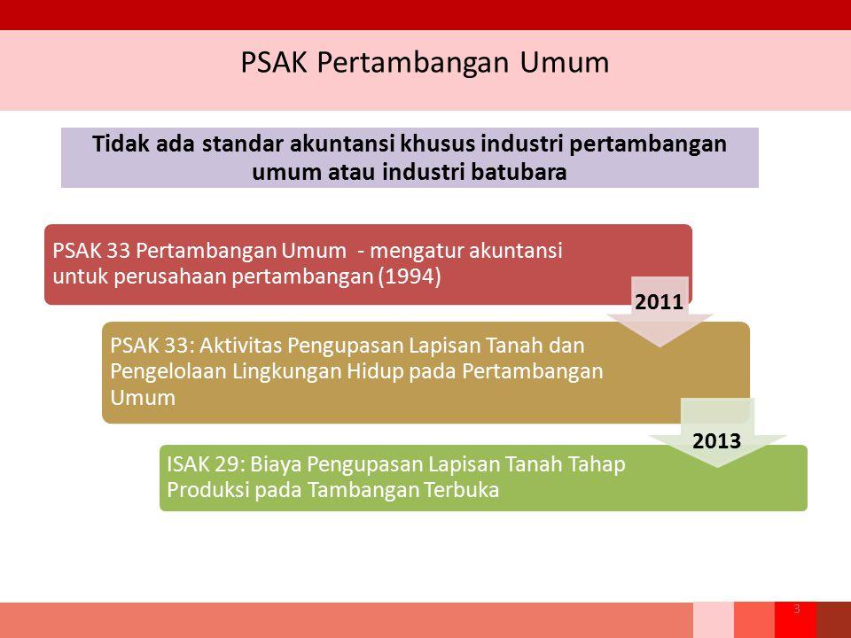 PSAK Pertambangan Umum 3 PSAK 33 Pertambangan Umum - mengatur akuntansi untuk perusahaan pertambangan (1994) PSAK 33: Aktivitas Pengupasan Lapisan Tan