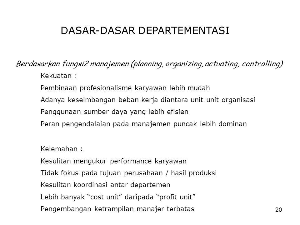 20 DASAR-DASAR DEPARTEMENTASI Berdasarkan fungsi2 manajemen (planning, organizing, actuating, controlling) Kelemahan : Kesulitan mengukur performance