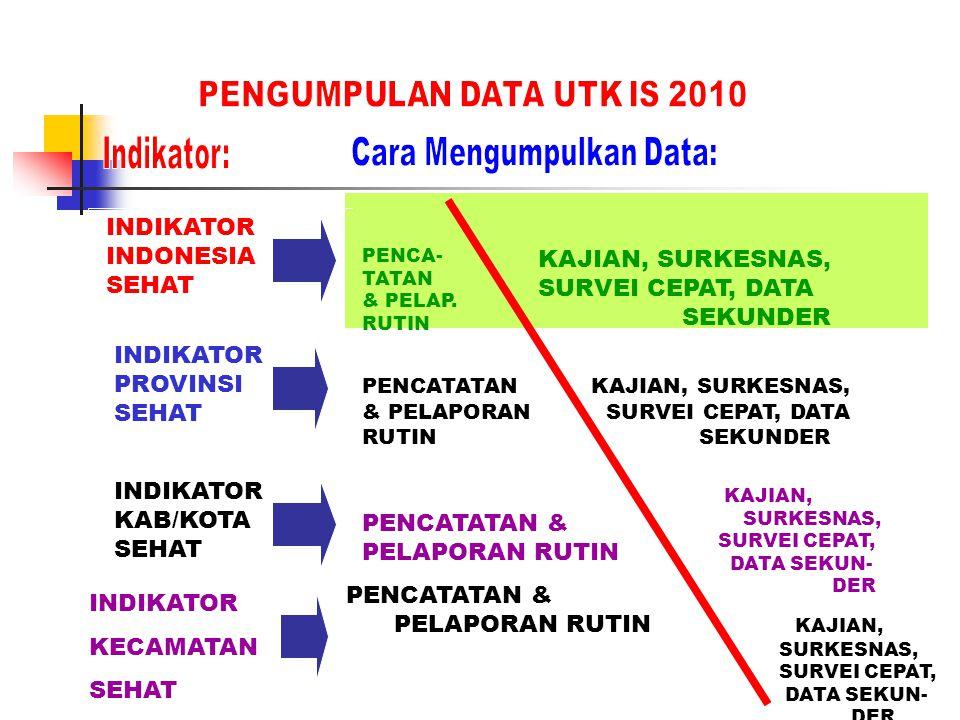 INDIKATOR INDONESIA SEHAT INDIKATOR PROVINSI SEHAT INDIKATOR KAB/KOTA SEHAT PENCATATAN & PELAPORAN RUTIN PENCATATAN & PELAPORAN RUTIN PENCA- TATAN & P