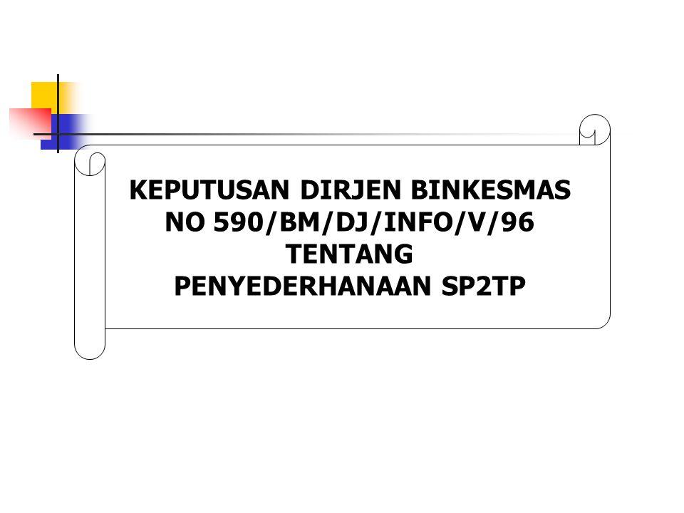 KEPUTUSAN DIRJEN BINKESMAS NO 590/BM/DJ/INFO/V/96 TENTANG PENYEDERHANAAN SP2TP