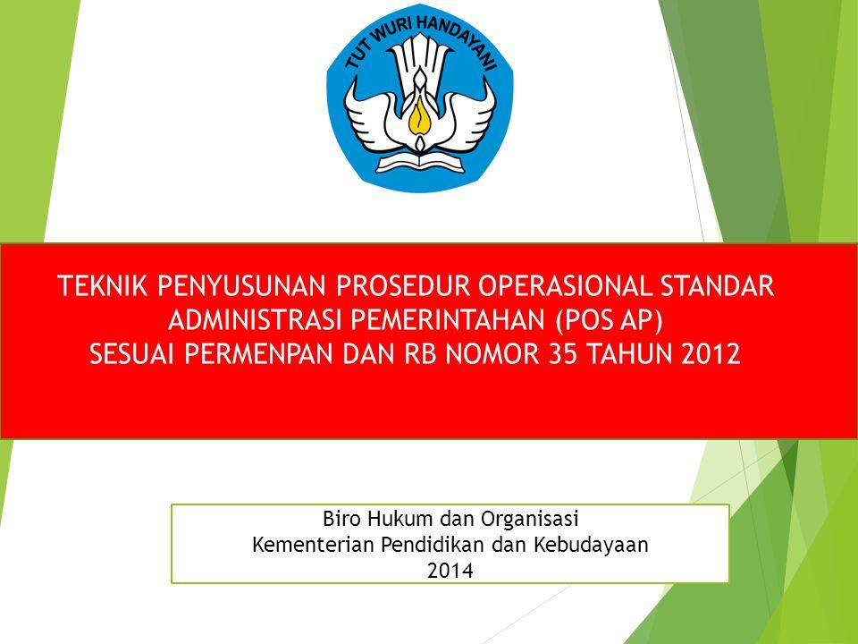 TEKNIK PENYUSUNAN PROSEDUR OPERASIONAL STANDAR ADMINISTRASI PEMERINTAHAN (POS AP) SESUAI PERMENPAN DAN RB NOMOR 35 TAHUN 2012 Biro Hukum dan Organisas