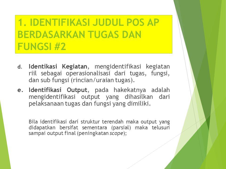 1. IDENTIFIKASI JUDUL POS AP BERDASARKAN TUGAS DAN FUNGSI #2 d. Identikasi Kegiatan, mengidentifikasi kegiatan riil sebagai operasionalisasi dari tuga