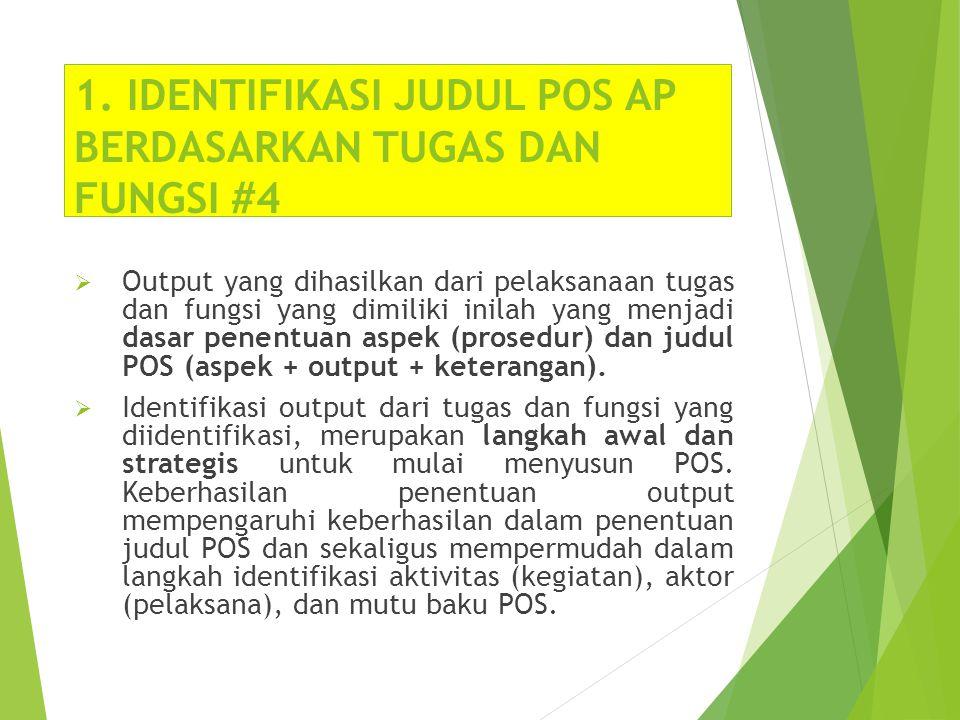 1. IDENTIFIKASI JUDUL POS AP BERDASARKAN TUGAS DAN FUNGSI #4  Output yang dihasilkan dari pelaksanaan tugas dan fungsi yang dimiliki inilah yang menj
