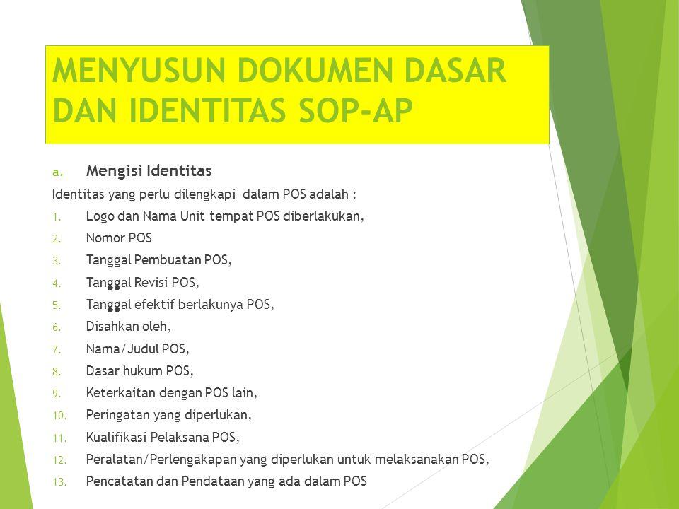 MENYUSUN DOKUMEN DASAR DAN IDENTITAS SOP-AP a. Mengisi Identitas Identitas yang perlu dilengkapi dalam POS adalah : 1. Logo dan Nama Unit tempat POS d
