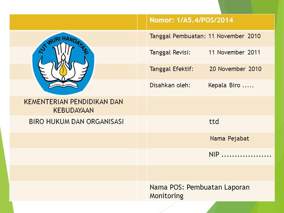 Nomor: 1/A5.4/POS/2014 Tanggal Pembuatan: 11 November 2010 Tanggal Revisi: 11 November 2011 Tanggal Efektif: 20 November 2010 Disahkan oleh: Kepala Bi