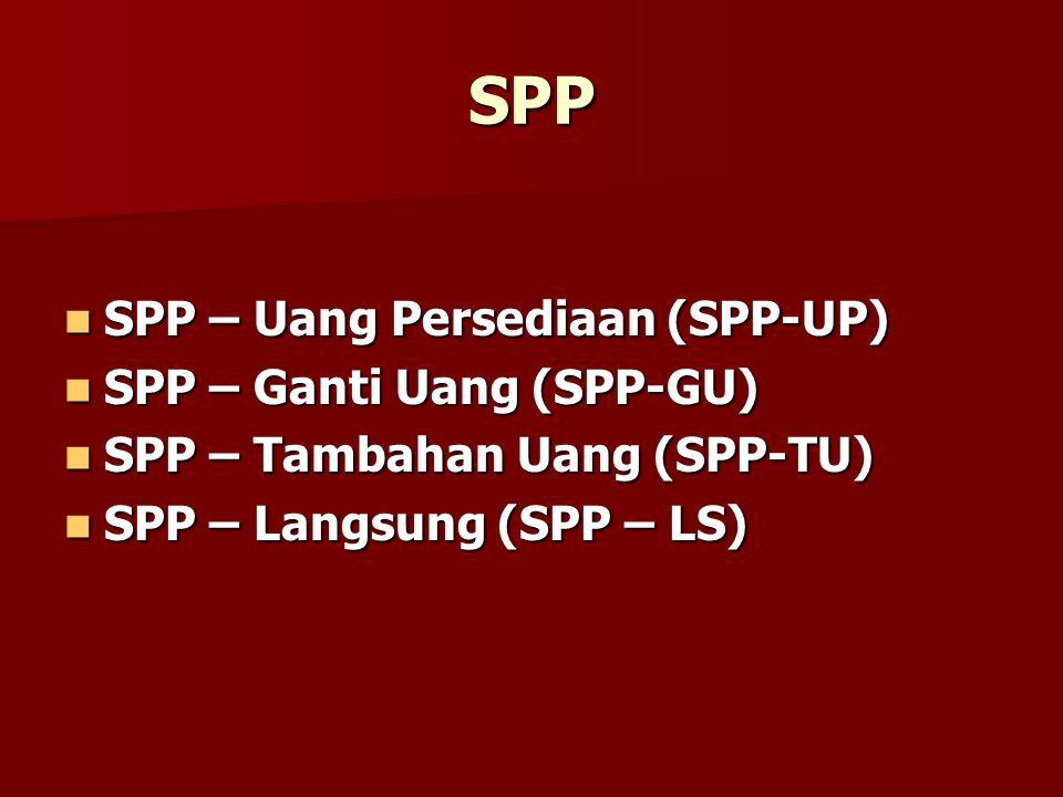 SPP SPP – Uang Persediaan (SPP-UP) SPP – Uang Persediaan (SPP-UP) SPP – Ganti Uang (SPP-GU) SPP – Ganti Uang (SPP-GU) SPP – Tambahan Uang (SPP-TU) SPP