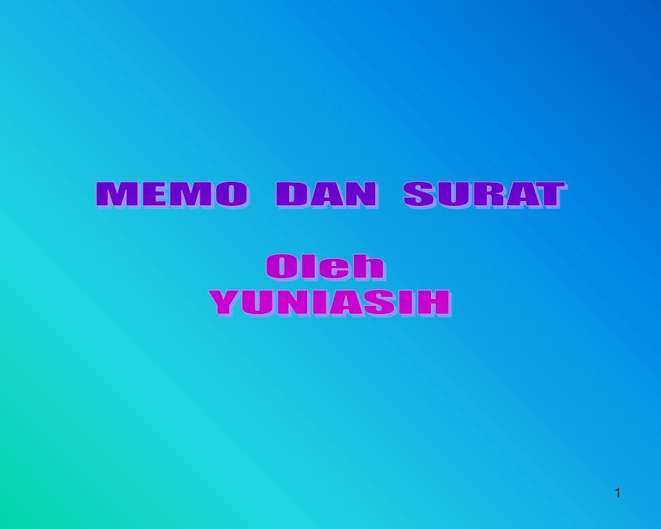 2 MEMO Singkatan dari memorandum  bentuk komunikasi tertulis yang di dalamnya berupa pesan singkat.