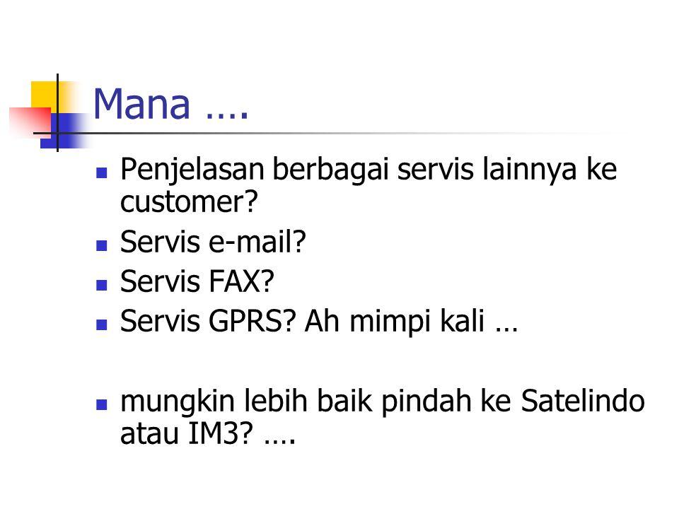 Mana …. Penjelasan berbagai servis lainnya ke customer? Servis e-mail? Servis FAX? Servis GPRS? Ah mimpi kali … mungkin lebih baik pindah ke Satelindo
