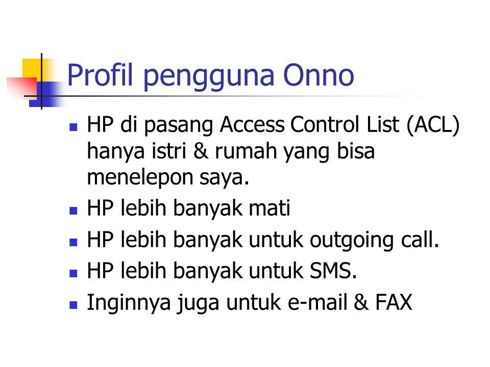 Profil pengguna Onno HP di pasang Access Control List (ACL) hanya istri & rumah yang bisa menelepon saya. HP lebih banyak mati HP lebih banyak untuk o
