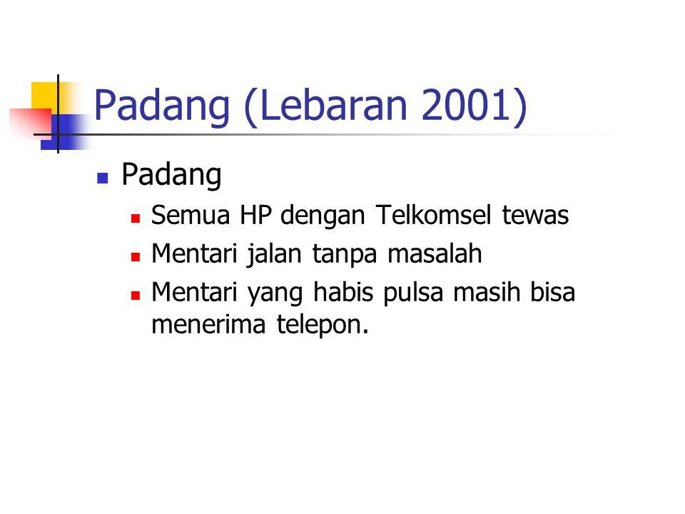 Padang (Lebaran 2001) Padang Semua HP dengan Telkomsel tewas Mentari jalan tanpa masalah Mentari yang habis pulsa masih bisa menerima telepon.