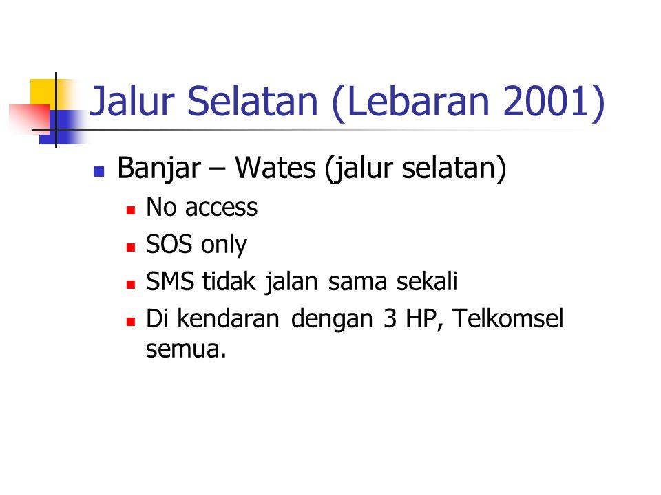 Jalur Selatan (Lebaran 2001) Banjar – Wates (jalur selatan) No access SOS only SMS tidak jalan sama sekali Di kendaran dengan 3 HP, Telkomsel semua.