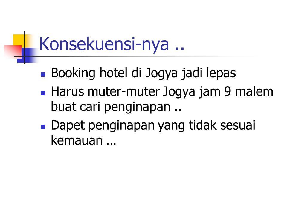 Konsekuensi-nya.. Booking hotel di Jogya jadi lepas Harus muter-muter Jogya jam 9 malem buat cari penginapan.. Dapet penginapan yang tidak sesuai kema