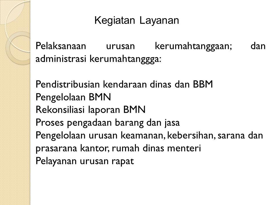 Kegiatan Layanan Pelaksanaan urusan kerumahtanggaan; dan administrasi kerumahtanggga: Pendistribusian kendaraan dinas dan BBM Pengelolaan BMN Rekonsil