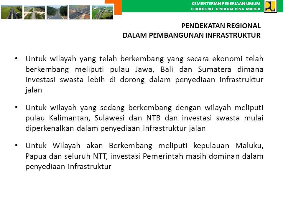 KEMENTERIAN PEKERJAAN UMUM DIREKTORAT JENDERAL BINA MARGA Untuk wilayah yang telah berkembang yang secara ekonomi telah berkembang meliputi pulau Jawa