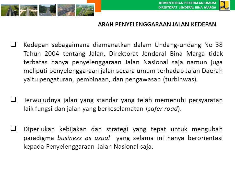 KEMENTERIAN PEKERJAAN UMUM DIREKTORAT JENDERAL BINA MARGA  Kedepan sebagaimana diamanatkan dalam Undang-undang No 38 Tahun 2004 tentang Jalan, Direkt