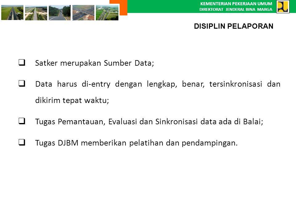 KEMENTERIAN PEKERJAAN UMUM DIREKTORAT JENDERAL BINA MARGA  Satker merupakan Sumber Data; Satker merupakan Sumber Data;  Data harus di-entry dengan l