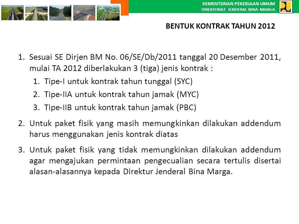 KEMENTERIAN PEKERJAAN UMUM DIREKTORAT JENDERAL BINA MARGA 1.Sesuai SE Dirjen BM No. 06/SE/Db/2011 tanggal 20 Desember 2011, mulai TA 2012 diberlakukan