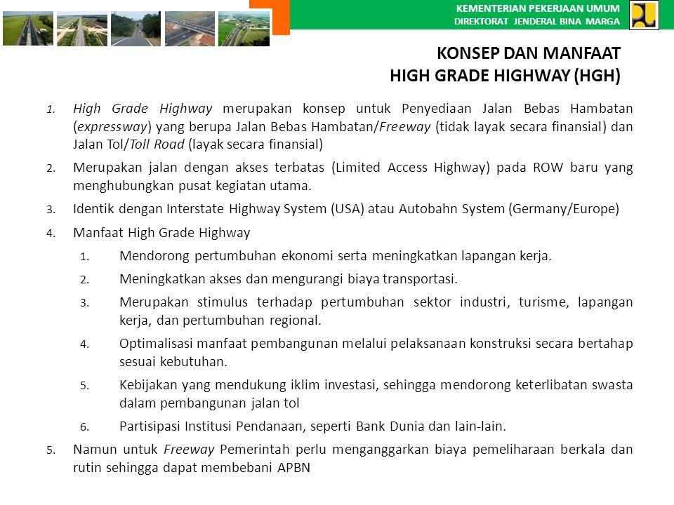 KEMENTERIAN PEKERJAAN UMUM DIREKTORAT JENDERAL BINA MARGA 1. High Grade Highway merupakan konsep untuk Penyediaan Jalan Bebas Hambatan (expressway) ya